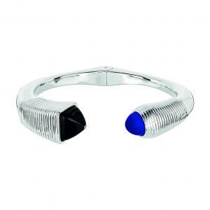 LALIQUE, « Charmante » en argent, cristaux noir et bleu.